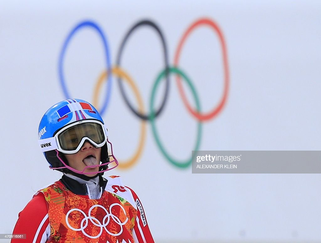 France's Adeline Baud reacts after the Women's Alpine Skiing Slalom Run 1 at the Rosa Khutor Alpine Center during the Sochi Winter Olympics on February 21, 2014.