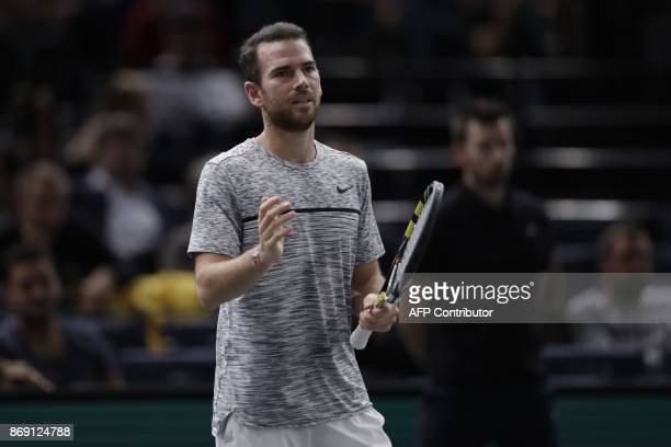 France's Adrian Mannarino reacts as he plays against Belgium's David Goffin during their second round match at the ATP World Tour Masters 1000 indoor...