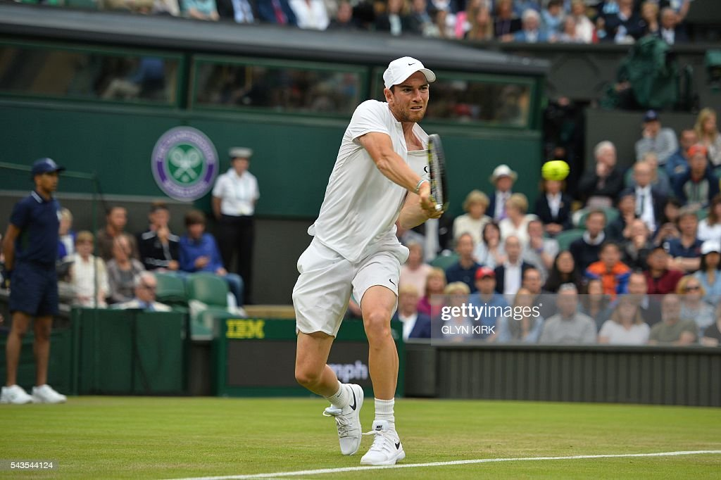 France's Adrian Mannarino returns against Serbia's Novak Djokovic uring their men's singles second round match on the third day of the 2016 Wimbledon Championships at The All England Lawn Tennis Club in Wimbledon, southwest London, on June 29, 2016. / AFP / GLYN