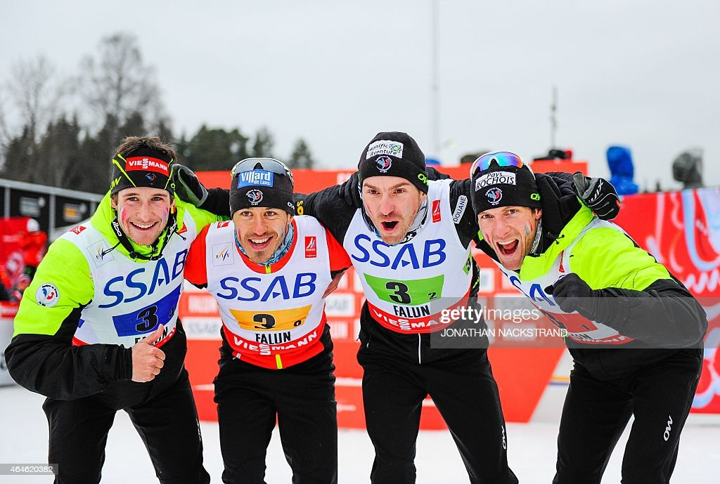 France's Adrien Backscheider, <a gi-track='captionPersonalityLinkClicked' href=/galleries/search?phrase=Robin+Duvillard&family=editorial&specificpeople=6680782 ng-click='$event.stopPropagation()'>Robin Duvillard</a>, <a gi-track='captionPersonalityLinkClicked' href=/galleries/search?phrase=Maurice+Manificat&family=editorial&specificpeople=5632025 ng-click='$event.stopPropagation()'>Maurice Manificat</a> and Jean Marc Gaillard react after the winners ceremony after placing third in the men's 4x10 km cross-country relay at the 2015 FIS Nordic Skiing World Championships in Falun, Sweden, February 27, 2015. AFP PHOTO / JONATHAN NACKSTRAND