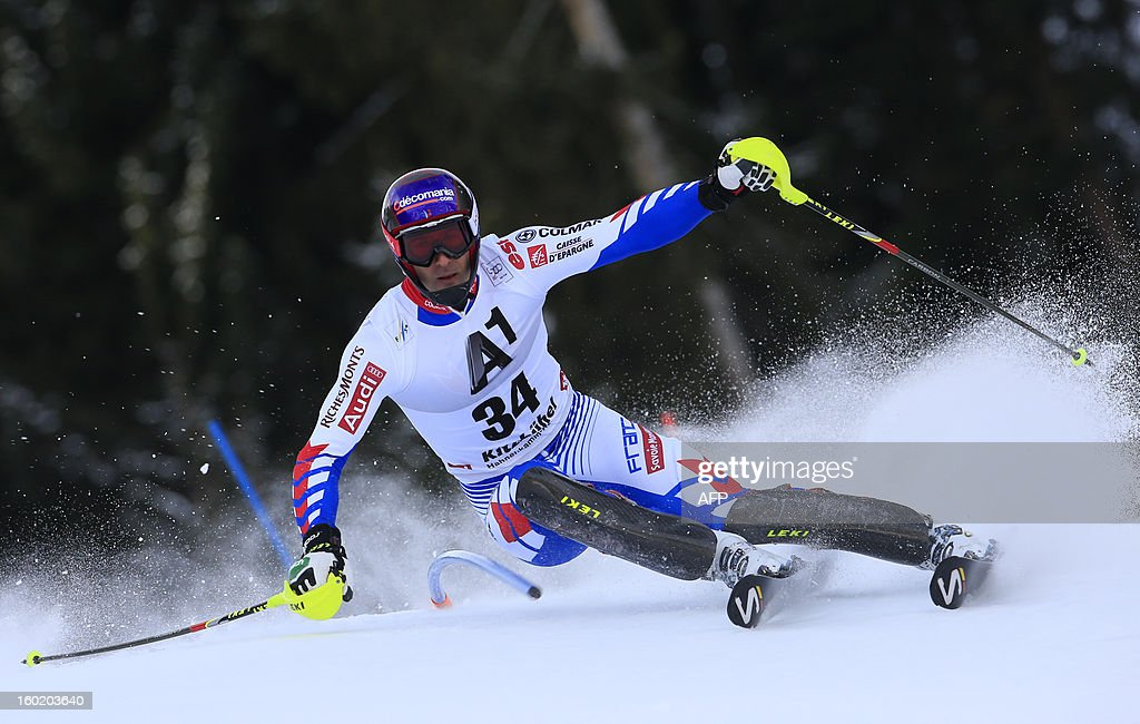 France's Adrien Theaux competes during the first round of the FIS World Cup men's slalom race on January 27, 2013 in Kitzbuehel, Austrian Alps. AFP PHOTO / ALEXANDER KLEIN