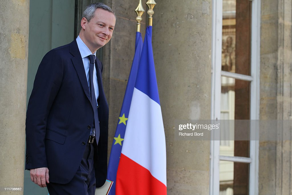 France's Agriculture, Food, Fisheries and Land Management Minister <a gi-track='captionPersonalityLinkClicked' href=/galleries/search?phrase=Bruno+Le+Maire&family=editorial&specificpeople=877418 ng-click='$event.stopPropagation()'>Bruno Le Maire</a> leaves the weekly french cabinet meeting at Elysee Palace on April 6, 2011 in Paris, France.