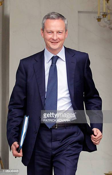 France's Agriculture minister Bruno Le Maire leaves the Elysee presidential palace after the weekly cabinet meeting on June 29 2011 in Paris France's...