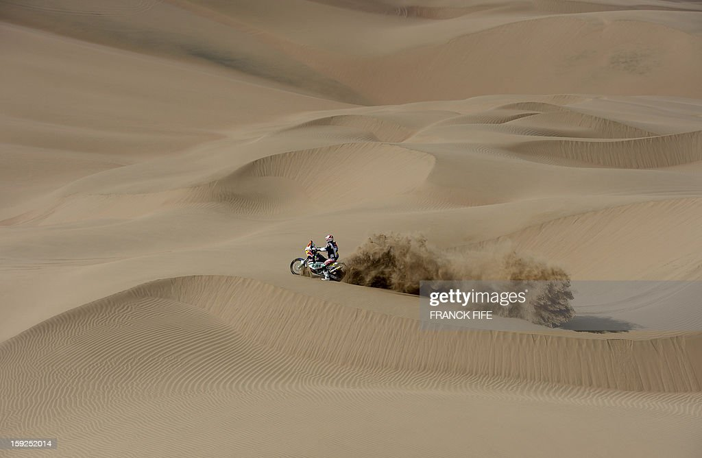 France's Alain Duclos competes in the Stage 6 of the 2013 Dakar Rally between Arica and Calama, Chile, on January 10, 2013. The rally is taking place in Peru, Argentina and Chile from January 5 to 20.