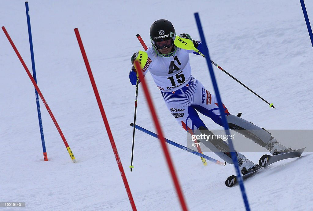 France's Alexis Pinturault competes at the second run of the FIS World Cup men's slalom race on January 27, 2013 in Kitzbuehel, Austrian Alps. Austrian Marcel Hirscher won the race, German Felix Neureuther placed second and Croatian Ivica Kostelic placed third.