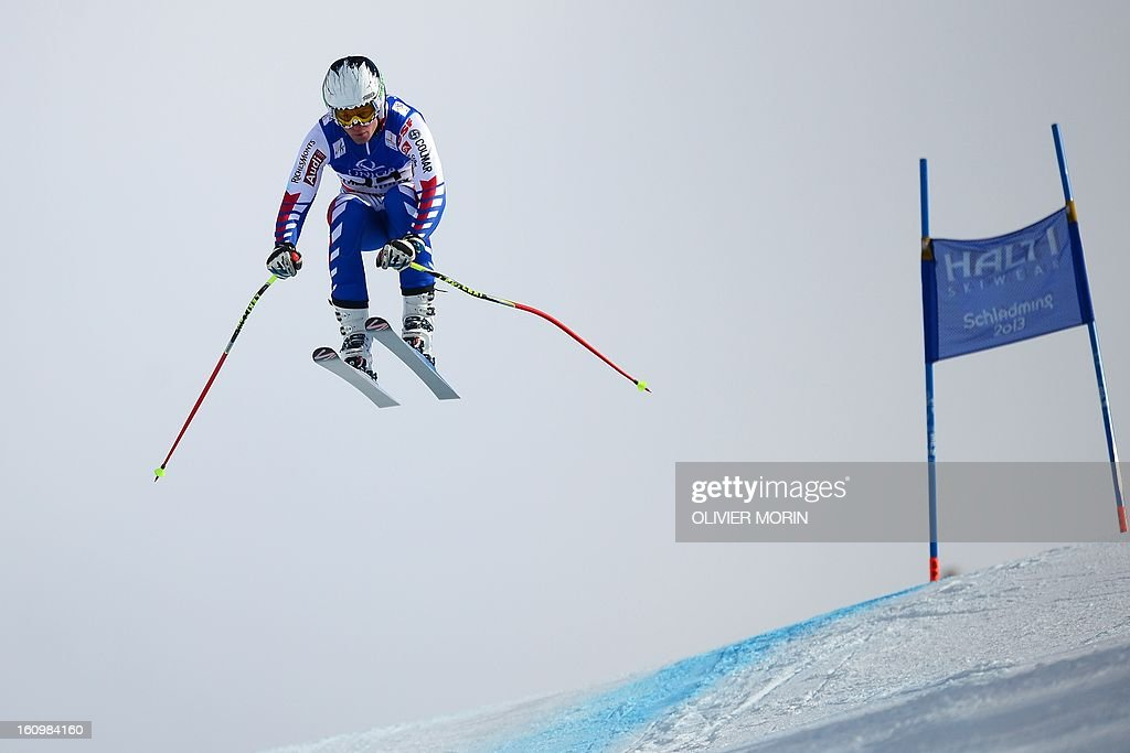 France's Alexis Pinturault competes during the men's downhill training of the 2013 Ski World Championships in Schladming, Austria on February 8, 2013.