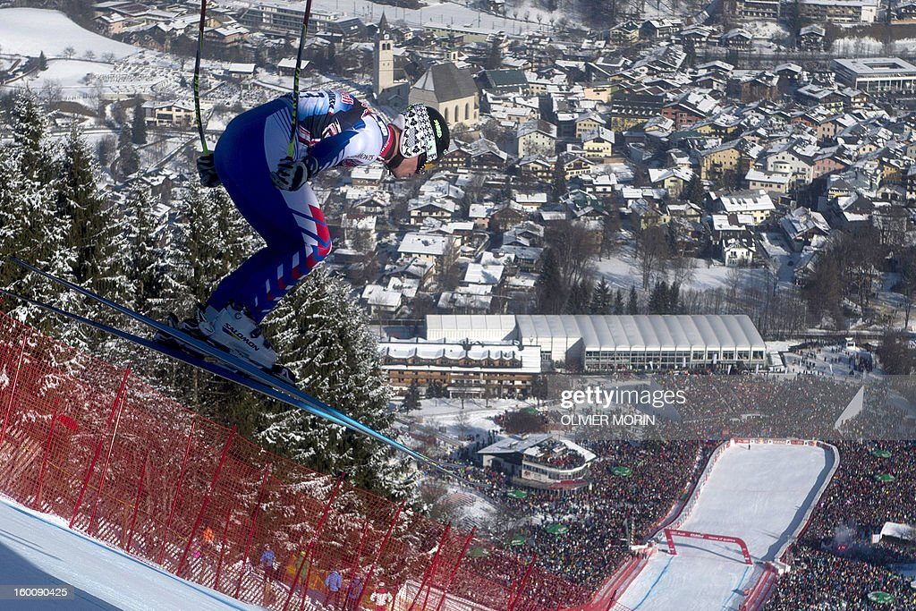 France's Alexis Pinturault competes during the men's World Cup Downhill, on January 26, 2013 in Kitzbuehel, Austrian Alps . Italy's Dominik Paris won the event, Canada's Erik Guay finished second and Austria's Hannes Reichelt third.