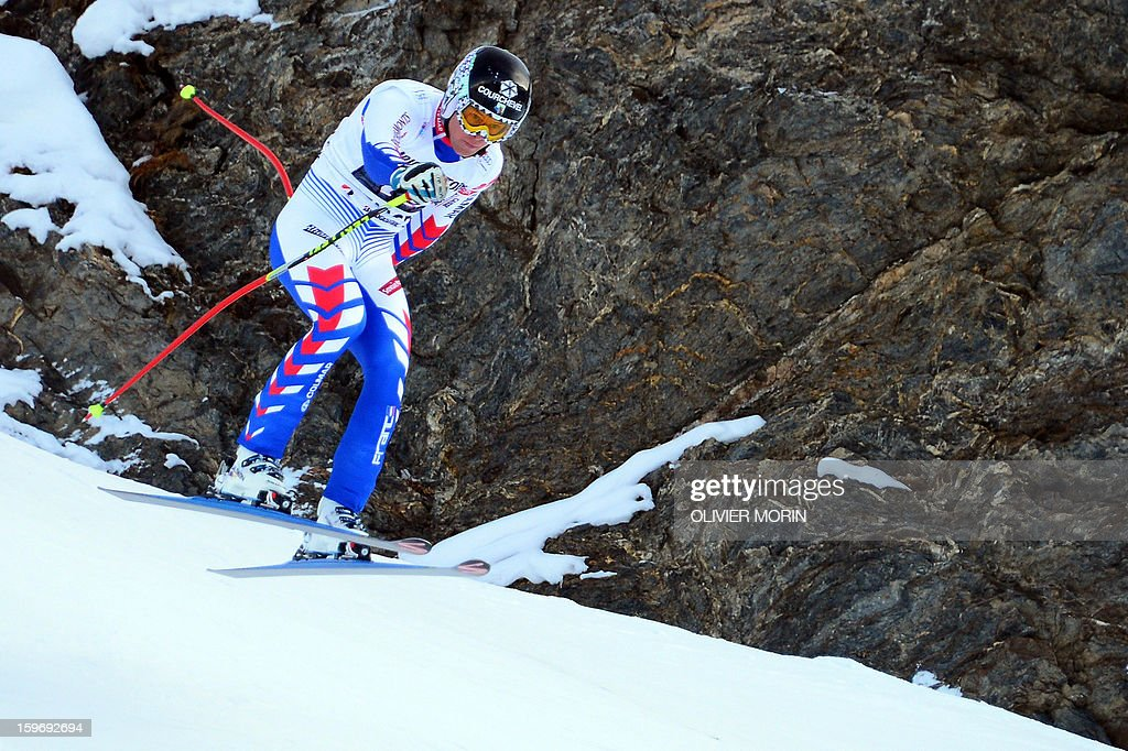 France's Alexis Pinturault competes during the men's World Cup Super Combined on January 18, 2013 in Wengen. Pinturault won ahead of Croatia's Ivica Kostelic and Switzerland's Carlo Janka. AFP PHOTO / OLIVIER MORIN