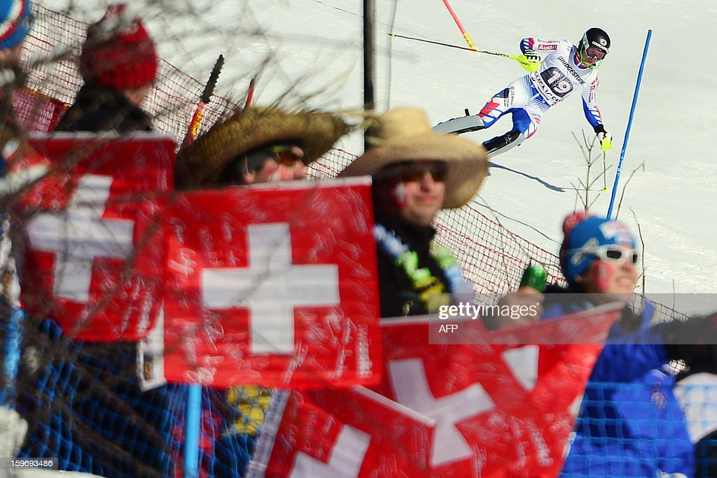 France's Alexis Pinturault competes during the men's World Cup Super Combined alpine skiing race, on January 18, 2013, in Wengen. France's Alexis Pinturault won ahead of Croatia's Ivica Kostelic and Switzerland's Carlo Janka.