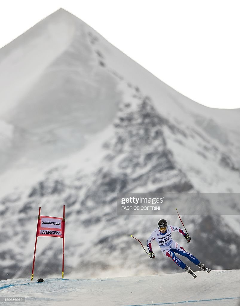 France's Alexis Pinturault leaps on January 18, 2013 in front of the Silberhorn mountain during the downhill event of the men's super combined of the FIS Alpine Skiing World Cup in Wengen.