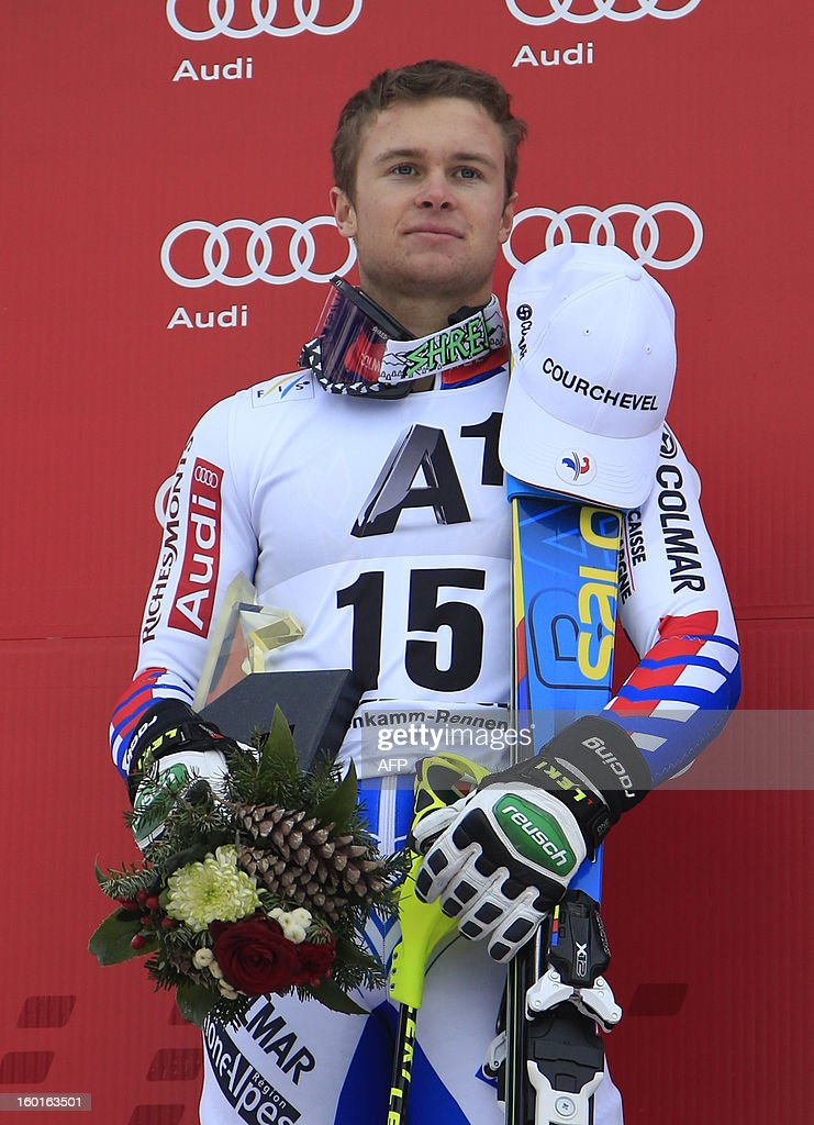 France's Alexis Pinturault poses on the podium after winning second position at the FIS World Cup men's super combined on January 27, 2013 in Kitzbuehel, Austrian Alps. Croatia's Ivica Kostelic won the combined title ahead of French duo Alexis Pinturault and Thomas Mermillod Blondin .AFP PHOTO / ALEXANDER KLEIN