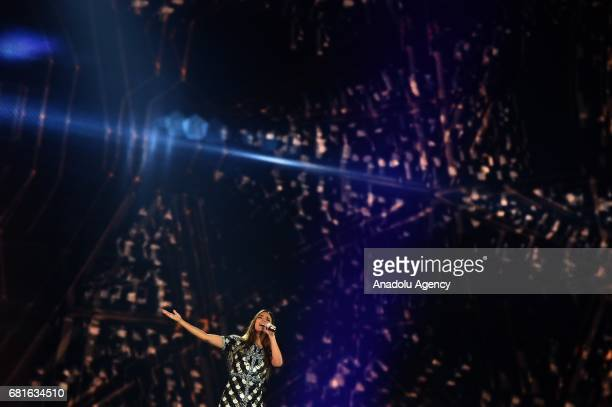 France's Alma performs the song 'Requiem' during the second semifinal dress rehearsal of Eurovision Song Contest 2017 at the International Exhibition...