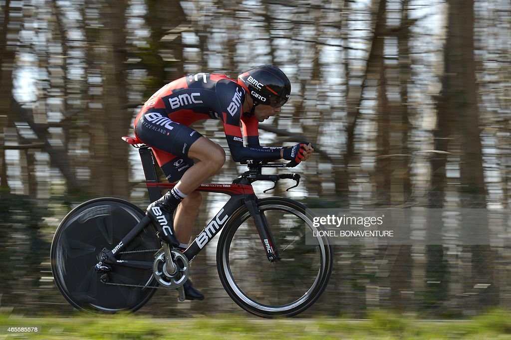 France's <a gi-track='captionPersonalityLinkClicked' href=/galleries/search?phrase=Amael+Moinard&family=editorial&specificpeople=4158993 ng-click='$event.stopPropagation()'>Amael Moinard</a> competes during the 6,7 km individual time-trial and prologue of the 73rd edition of the Paris-Nice cycling race, on March 8, 2015, in Maurepas, in the western suburbs of Paris.