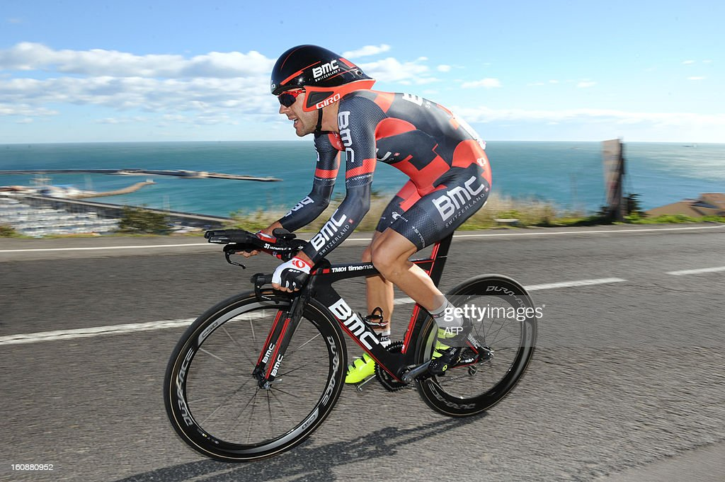 France's Amael Moinard competes during the second stage, a 24km individual time trial, of the 40th edition of the Tour Mediterraneen cycling race from Cap d'Agde to Sete on February 7, 2013 in Sete, southern France. Netherland's Lars Boom won the stage and leads the race.