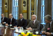 France's ambassador to the Netherlands Pierre Menat French Economy Finance and Foreign Trade Minister Pierre Moscovici France's President Francois...