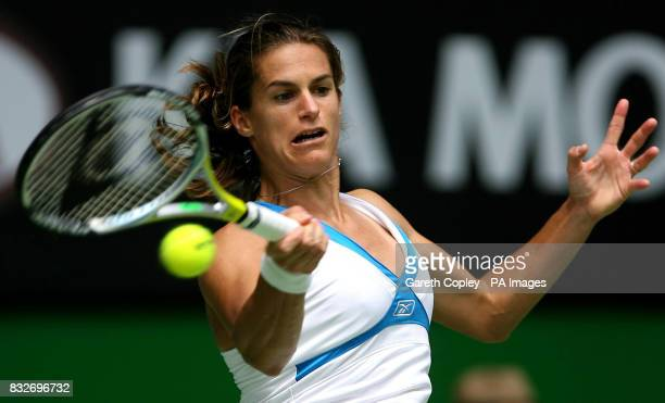France's Amelie Mauresmo during her fourth round match against Lucie Safarova during the Australian Open at Melbourne Park Melbourne Australia
