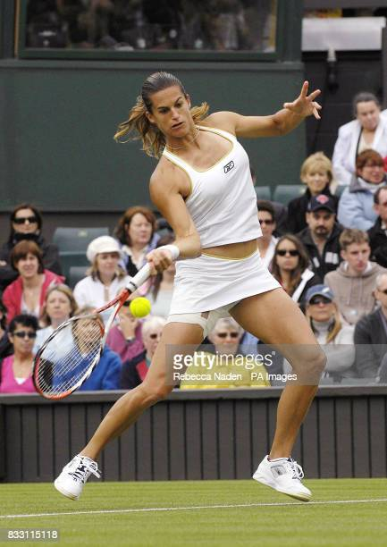 France's Amelie Mauresmo in action against USA's Jamea Jackson during The All England Lawn Tennis Championship at Wimbledon