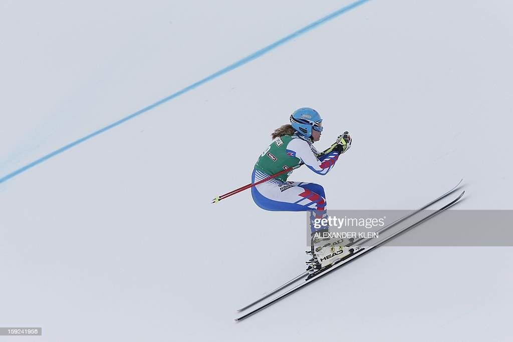 France's Anne Sophie Barthet skies during the St Anton ladies downhill training session as part of the FIS Ski World Cup held in Sankt Anton am Arlberg on January 10, 2013.