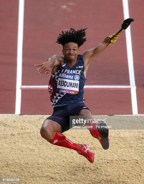 France's Arnaud Assoumani in action during the Men's Long Jump T47 during day six of the 2017 World Para Athletics Championships at London Stadium