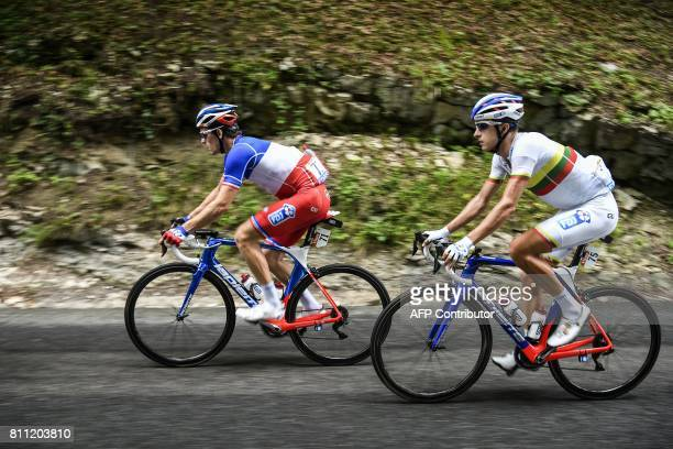France's Arnaud Demare and Lithuania's Ignatas Konovalovas ride during the 1815 km ninth stage of the 104th edition of the Tour de France cycling...