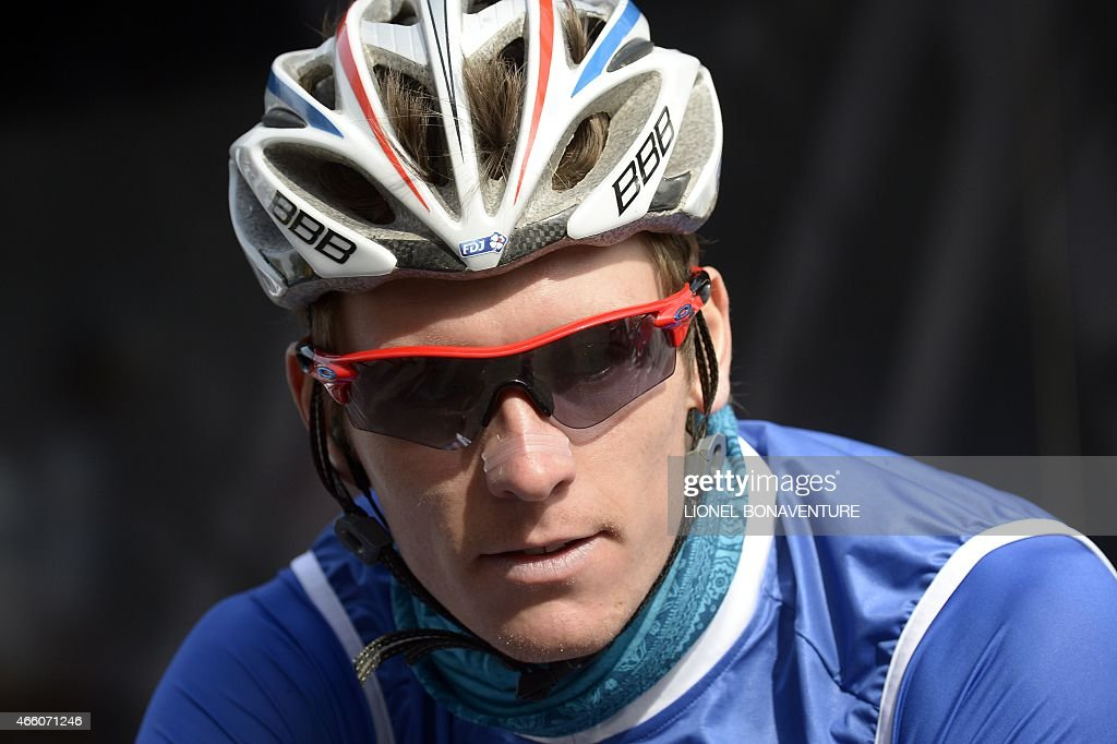 France's Arnaud Demare attends the signature ceremony in Saint-Etienne, central eastern France, before the start of the fifth stage of the 73rd edition of the Paris-Nice cycling race, between Saint-Etienne and Rasteau, on March 13, 2015.