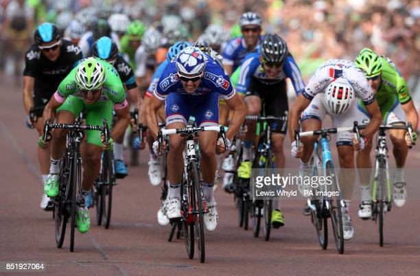 France's Arnaud Demare races for the finish line to win the Prudential LondonSurrey 100 bike race during day two of the Ridelondon Grand Prix London...