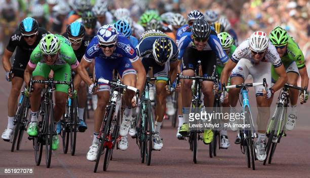France's Arnaud Demare races for the finish line to win the Prudential LondonSurrey 100 bike race during day two of the Ridelondon Grand Prix London