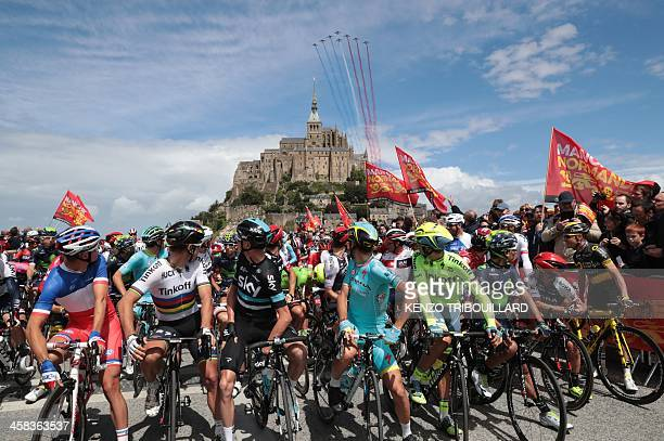 TOPSHOT France's Arthur Vichot Slovakia's Peter Sagan Great Britain's Christopher Froome Italy's Vincenzo Nibali Spain's Alberto Contador and...