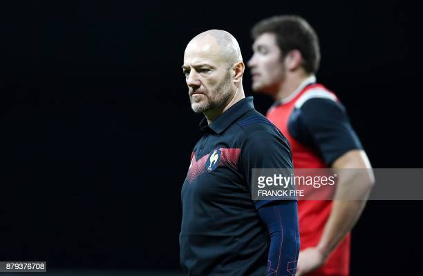 France's assistant coach Gerald Bastide looks on during the friendly rugby union international Test match between France and Japan at The U Arena in...