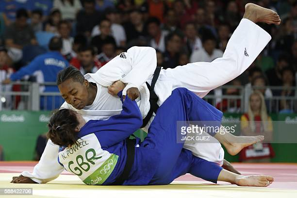 TOPSHOT France's Audrey Tcheumeo competes with Great Britain's Natalie Powell during their women's 78kg judo contest quarterfinal match of the Rio...
