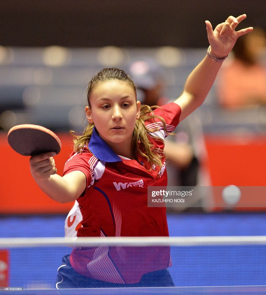 France's Audrey Zarif returns a shot against Singapore's Yu Mengyu during their match in the women's team championship division group C at the 2014 World Team Table Tennis Championships in Tokyo on May 1, 2014.