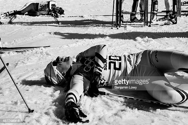 France's Aurore Jean rests at the finish line in the Women's CrossCountry Skiing 30km Mass Start Free at the Laura CrossCountry Ski and Biathlon...