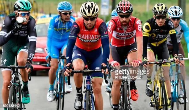 France's Axel Domont France's Romain Sicard Belgium's Thomas De Gendt Italy's Antonio Nibali Spain's Delio Fernandez and Germany's Silvio Herklotz...