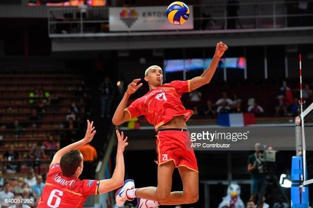 France's Barthelemy Chinenyeze spikes the ball during the group D volleyball match between France and Netherlands of the 2017 CEV Men's Volleyball...