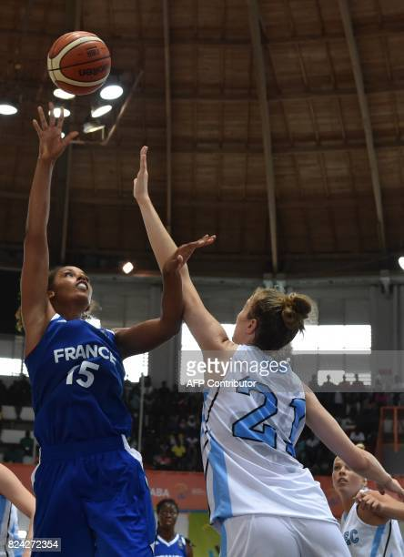 France's Basketball player Marieme Badiane vies with Canada's Alexadra KissRusk in the women's baketball final between France and Canada Quebec...