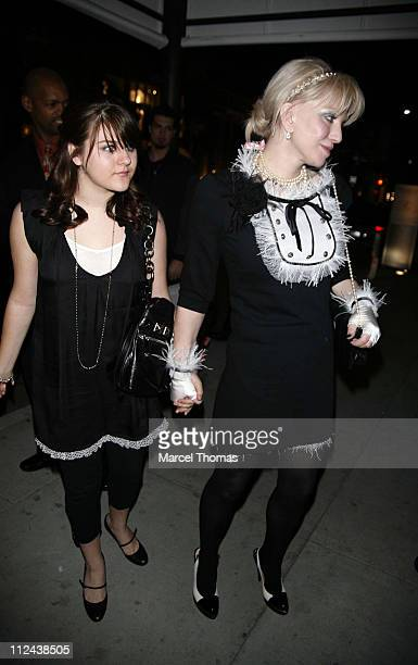 Frances Bean Cobain and Courtney Love during Paris Hilton 26th Birthday Dinner Outside Departures at Prime Grill Restaurant in Beverly Hills...