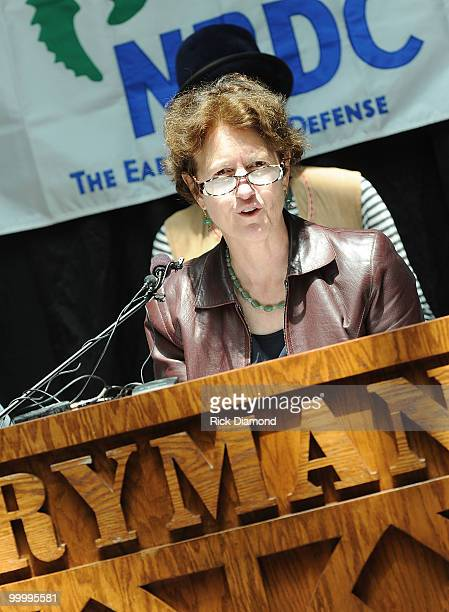 Frances Beinecke President NRDC addresses the press during the Music Saves Mountains benefit concert press conference at the Ryman Auditorium on May...