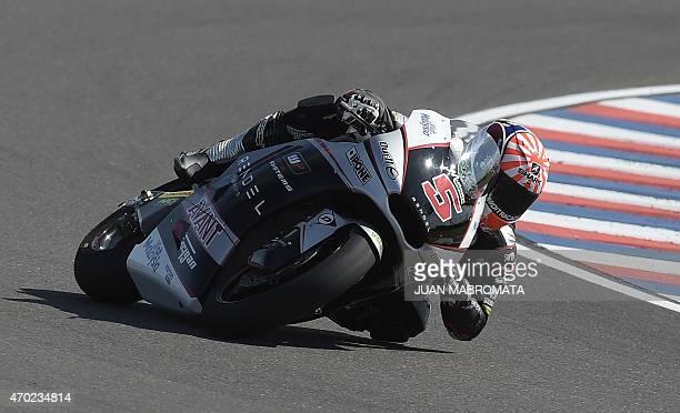France's biker Johann Zarco rides his Caterham Kalex during the Moto2 qualifying session of the Argentina Grand Prix at Termas de Rio Hondo circuit...