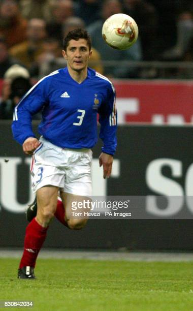 France's Bixente Lizarazu in action during the international friendly match between France and Scotland at the Stade De France