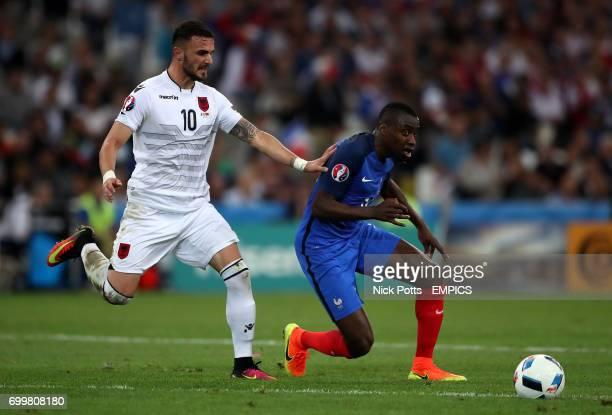 France's Blaise Matuidi and Albania's Armando Sadiku battle for the ball