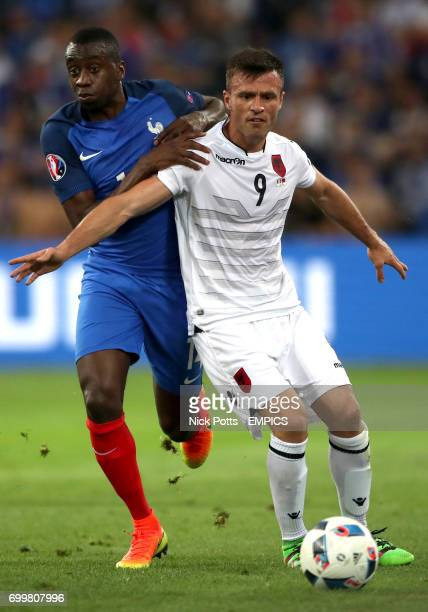 France's Blaise Matuidi and Albania's Ledian Memushaj battle for the ball