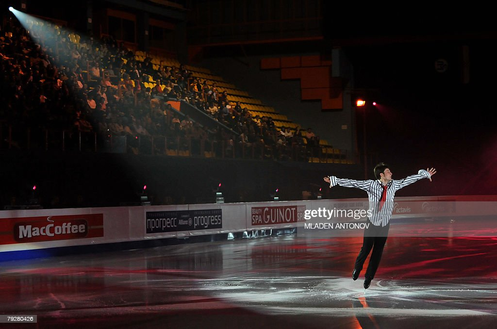 France's Brian Joubert performs an exhibition program at the Dom Sportova Arena in Zagreb 27 January 2008 during the gala of the European Figure...