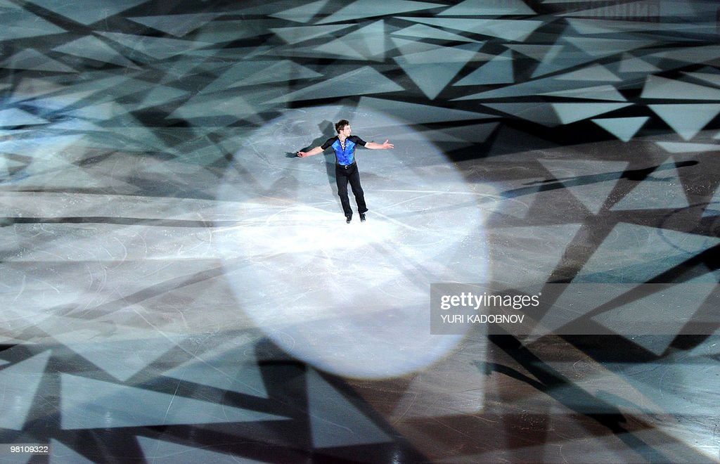 France's Brian Joubert performs during the exhibition gala of the World Figure Skating Championships on March 28, 2010 at the Palavela ice-rink in Turin.