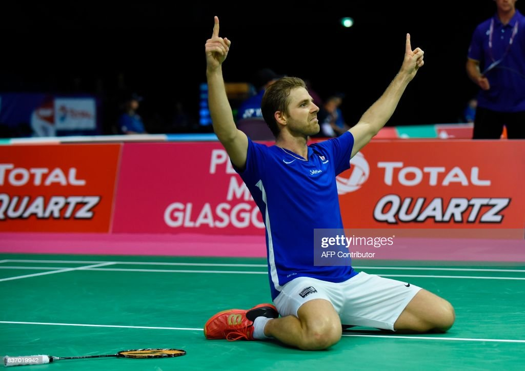 France's Brice Leverdez celebrates his victory over Malaysia's Lee Chong Wei during their round one men's singles match during the 2017 BWF World Championships of badminton at Emirates Arena in Glasgow on August 22, 2017. Leverdez beat Chong 21-19, 22-24, 21-17. /