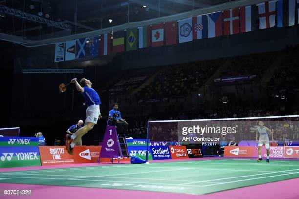TOPSHOT France's Brice Leverdez returns against Malaysia's Lee Chong Wei during their round one men's singles match during the 2017 BWF World...
