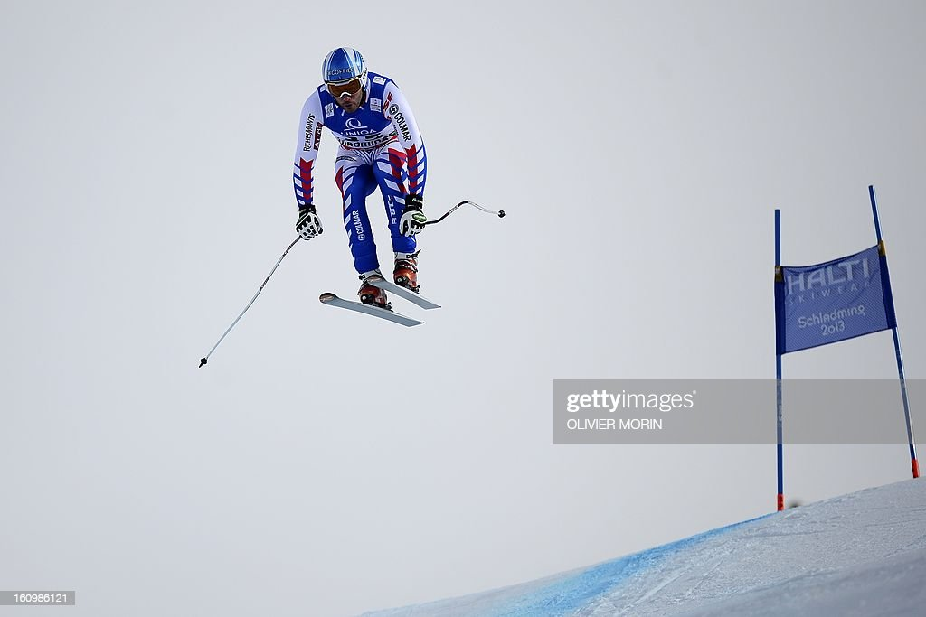 France's Brice Roger competes during the men's downhill training of the 2013 Ski World Championships in Schladming, Austria on February 8, 2013.