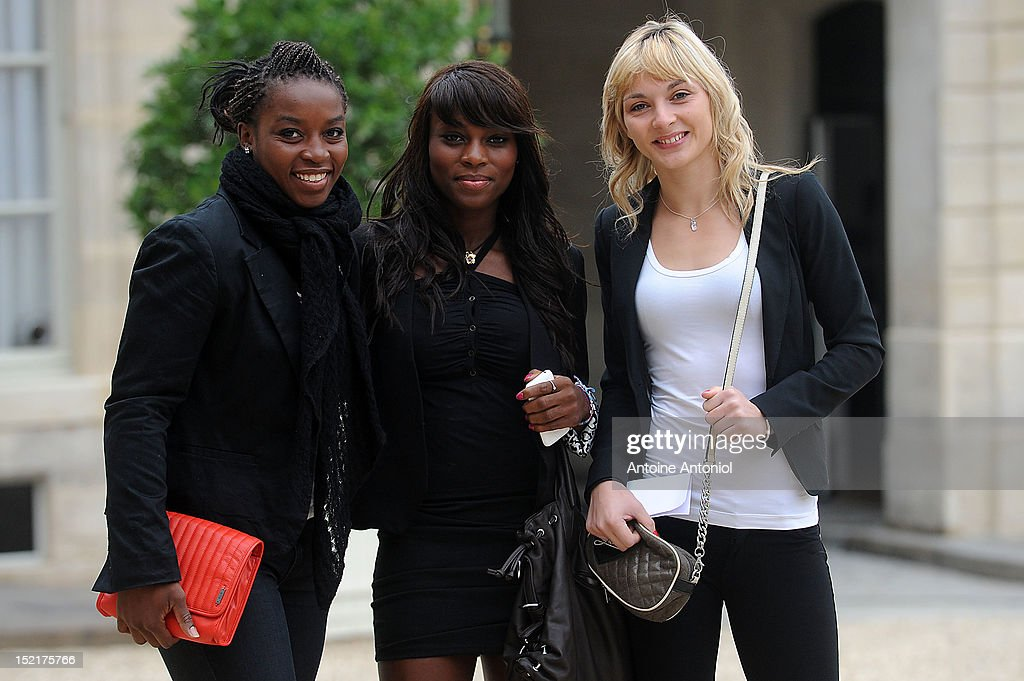 France's Bronze Judo Olympic athletes Gevrise Emane, Priscilla Gneto and Automne Pavia arrives for a ceremony with France's President Francois Hollande at Elysee Palace on September 17, 2012 in Paris, France.