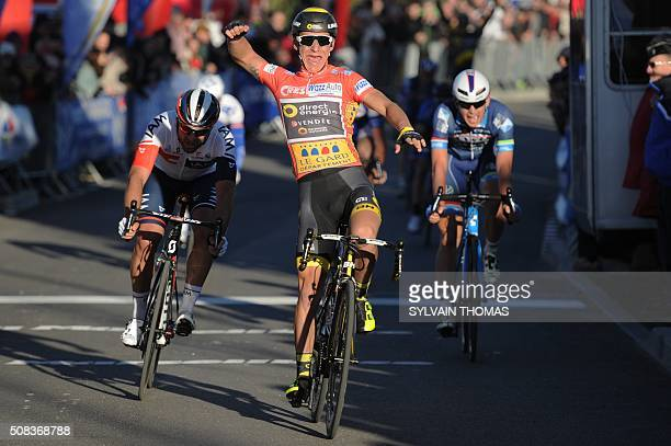 TOPSHOT France's Bryan Coquard celebrates as he crosses the finish line to win the second stage of the 46th edition of the Etoile de Besseges cycling...