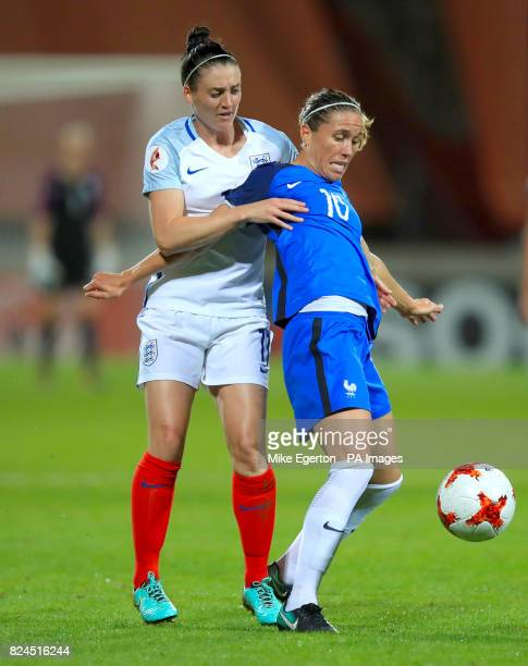 France's Camille Abily and England's Jade Moore battle for the ball during the UEFA Women's Euro 2017 quarter final match at the Stadion De...