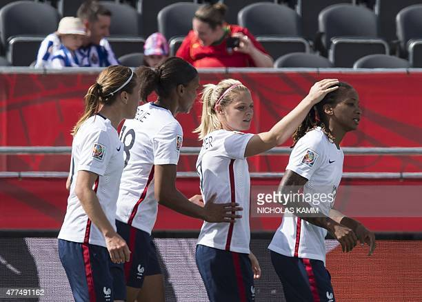 France's Camille Abily MarieLaure Delie Eugenie Le Sommer and Elodie Thomis celebrate scoring against Mexico during their FIFA Women's World Cup...